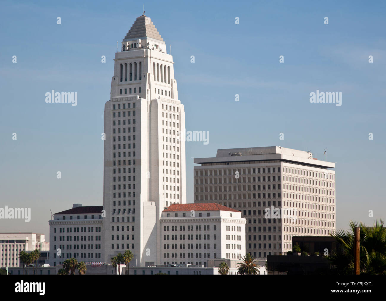 Los Angeles City Hall building in Downtown, Los Angeles, California, USA - Stock Image