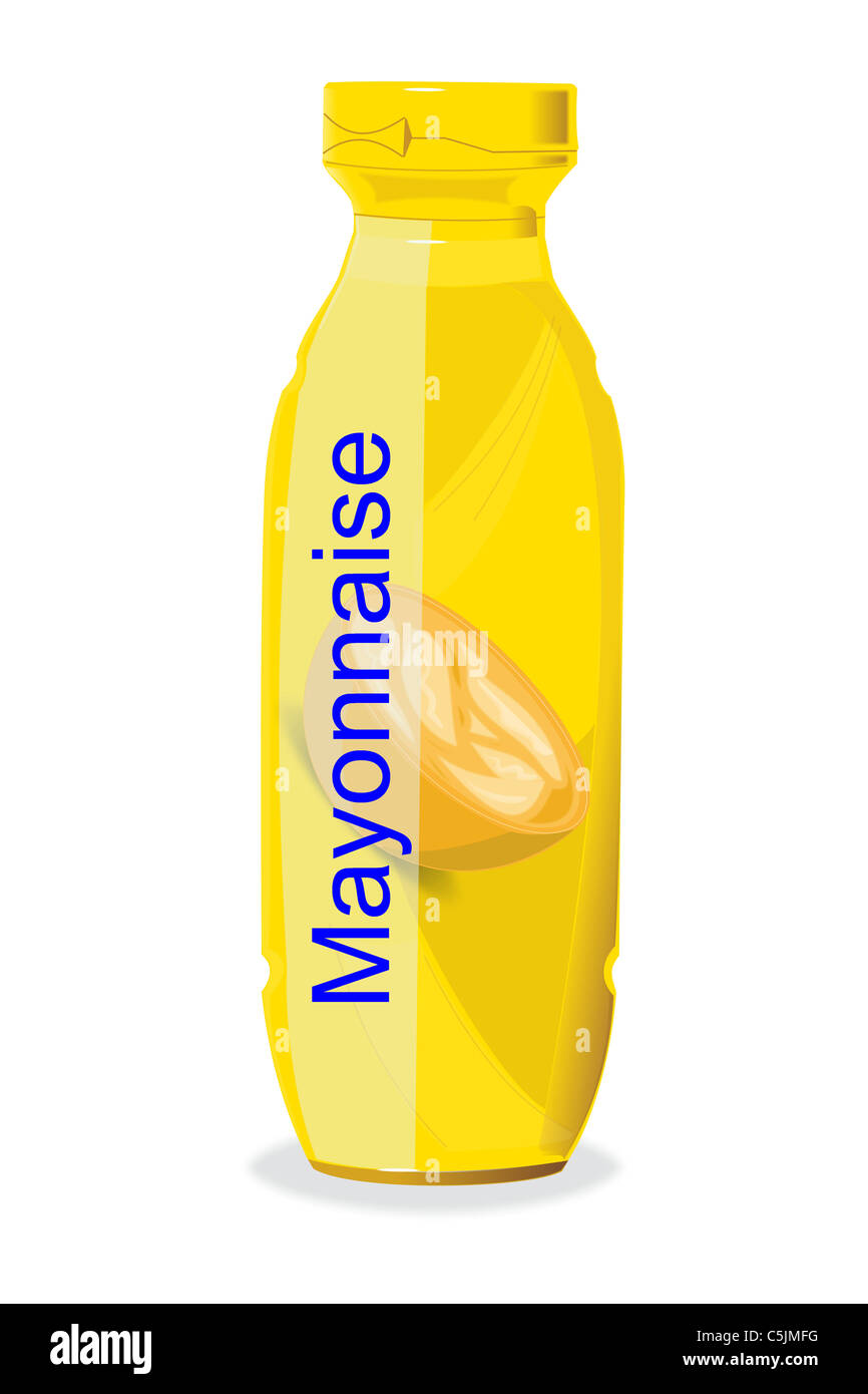 Drawing of a bottle of Mayonnaise. - Stock Image