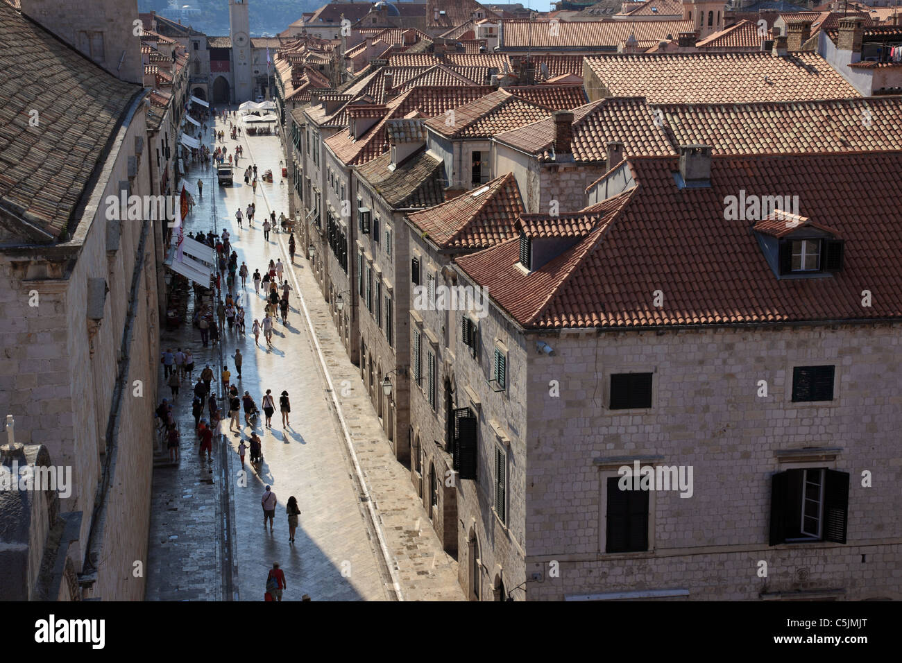 The Stradun, Dubrovnik, Croatia as viewed from the city walls - Stock Image