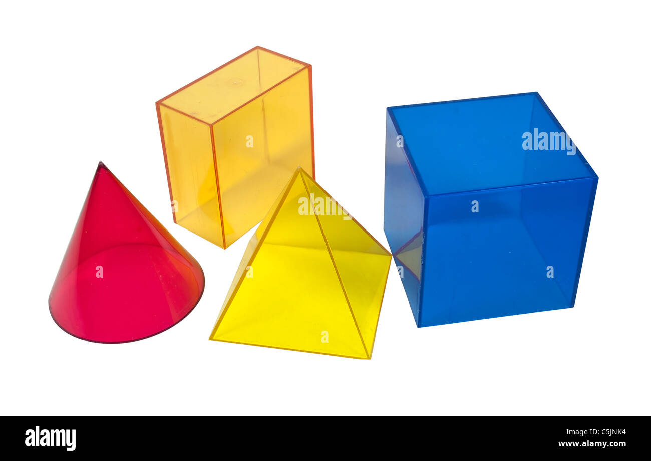 Several geometric shapes used for educational purposes - path included - Stock Image