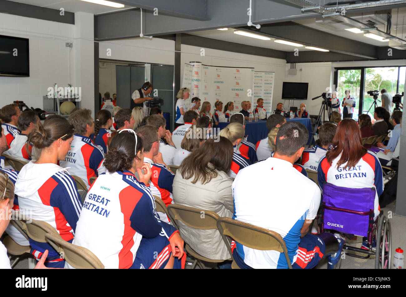 GB Rowing Team for the World Championships being announced in  the Redgrave Pinsent Rowing Lake and Sherriff Boathouse - Stock Image