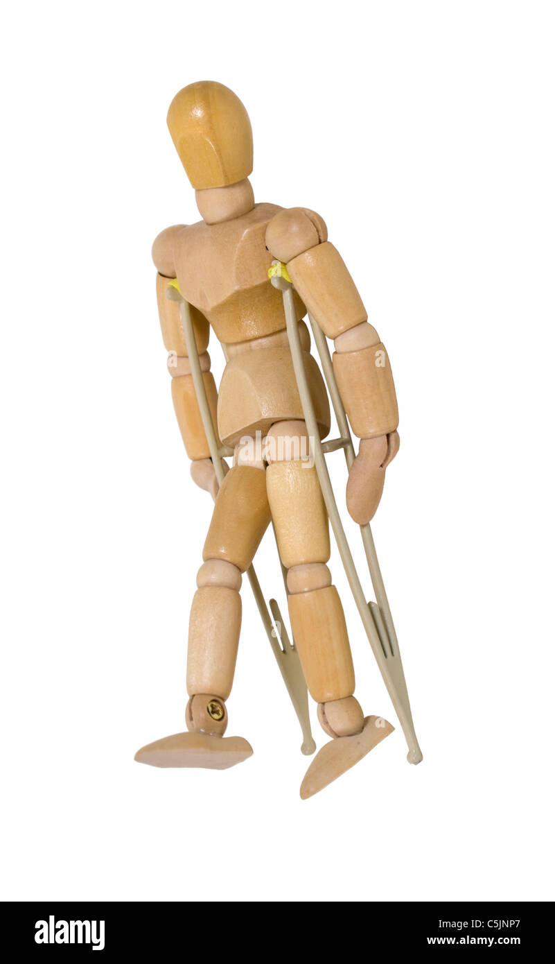 Using crutches to assist when walking short distances - path included - Stock Image