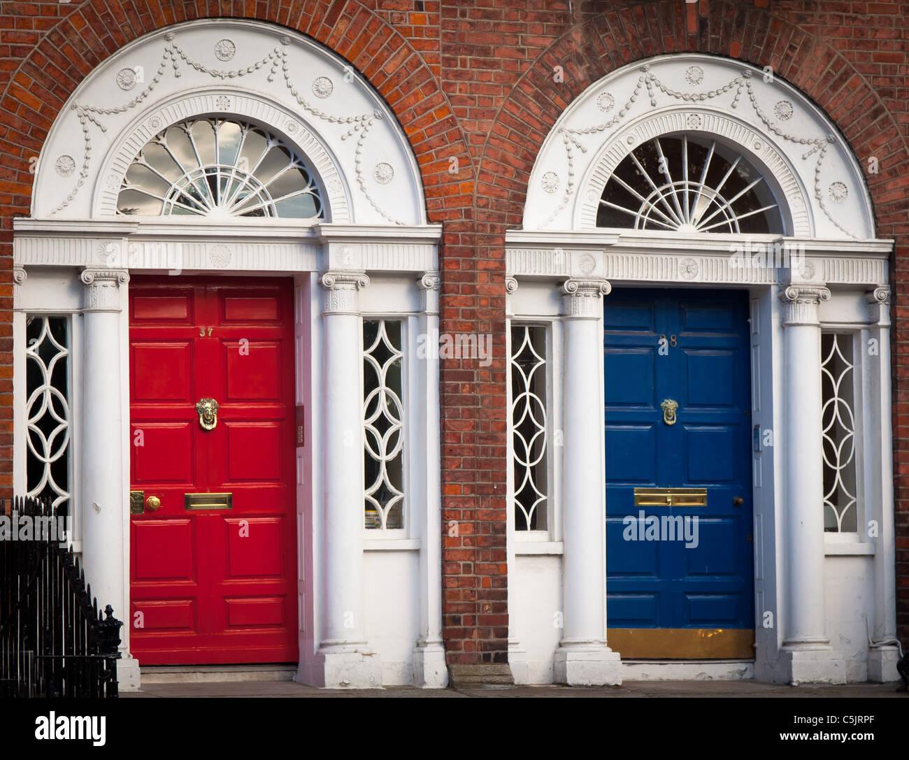 Typical Georgian doors in Dublin, Ireland - Stock Image