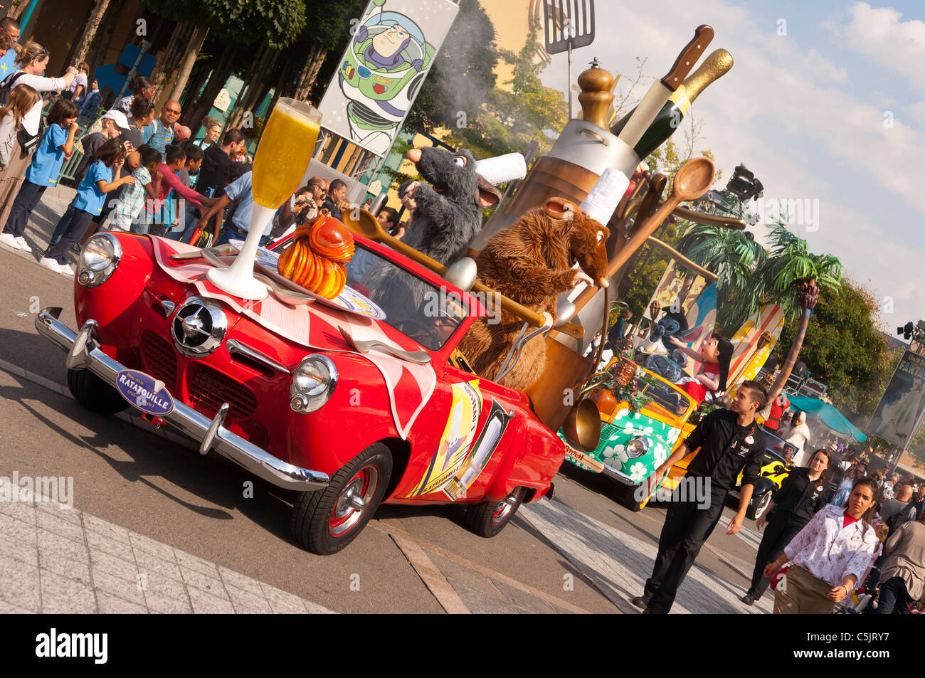 The Stars 'n' Cars parade with ratatouille at Disneyland Paris in France - Stock Image