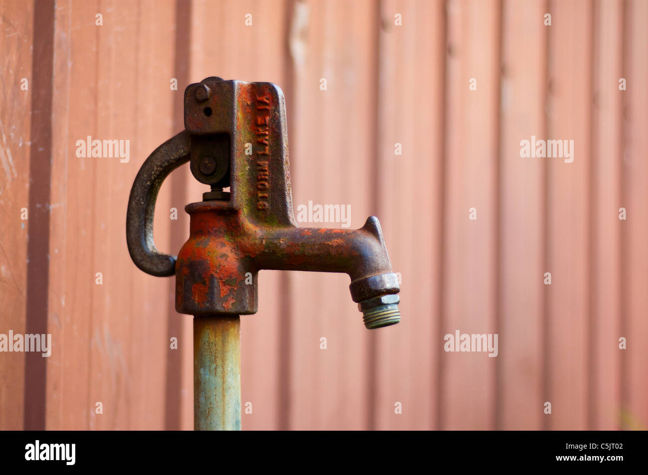 Vintage water spigot found on a farm in Indiana. - Stock Image