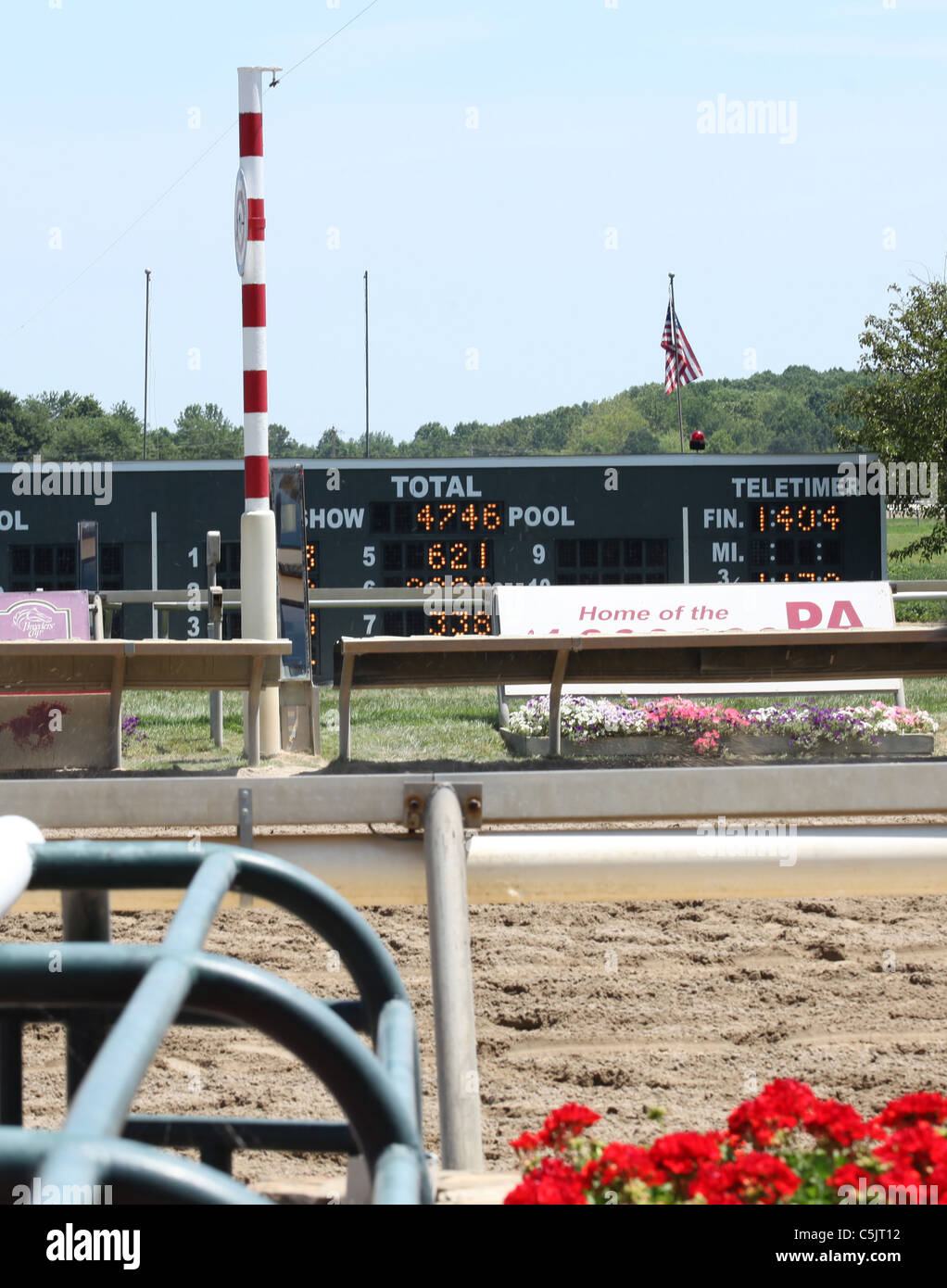 Finish line at a race horse track - Stock Image