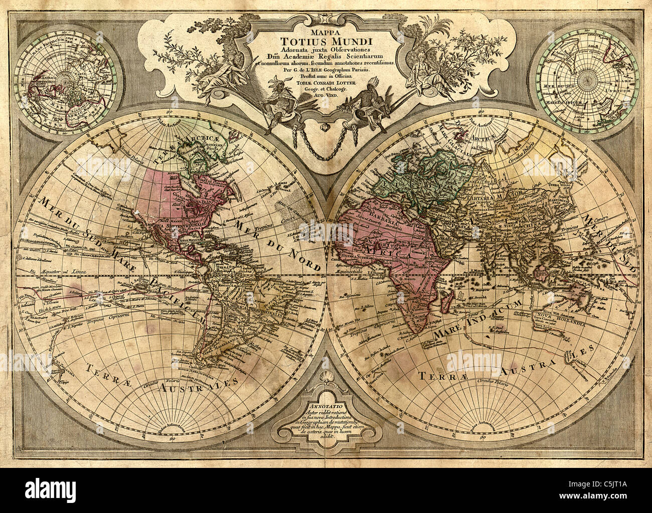 Mappa totius mundi - Antique World Map by Guillaume de L'Isle, 1775 - Stock Image