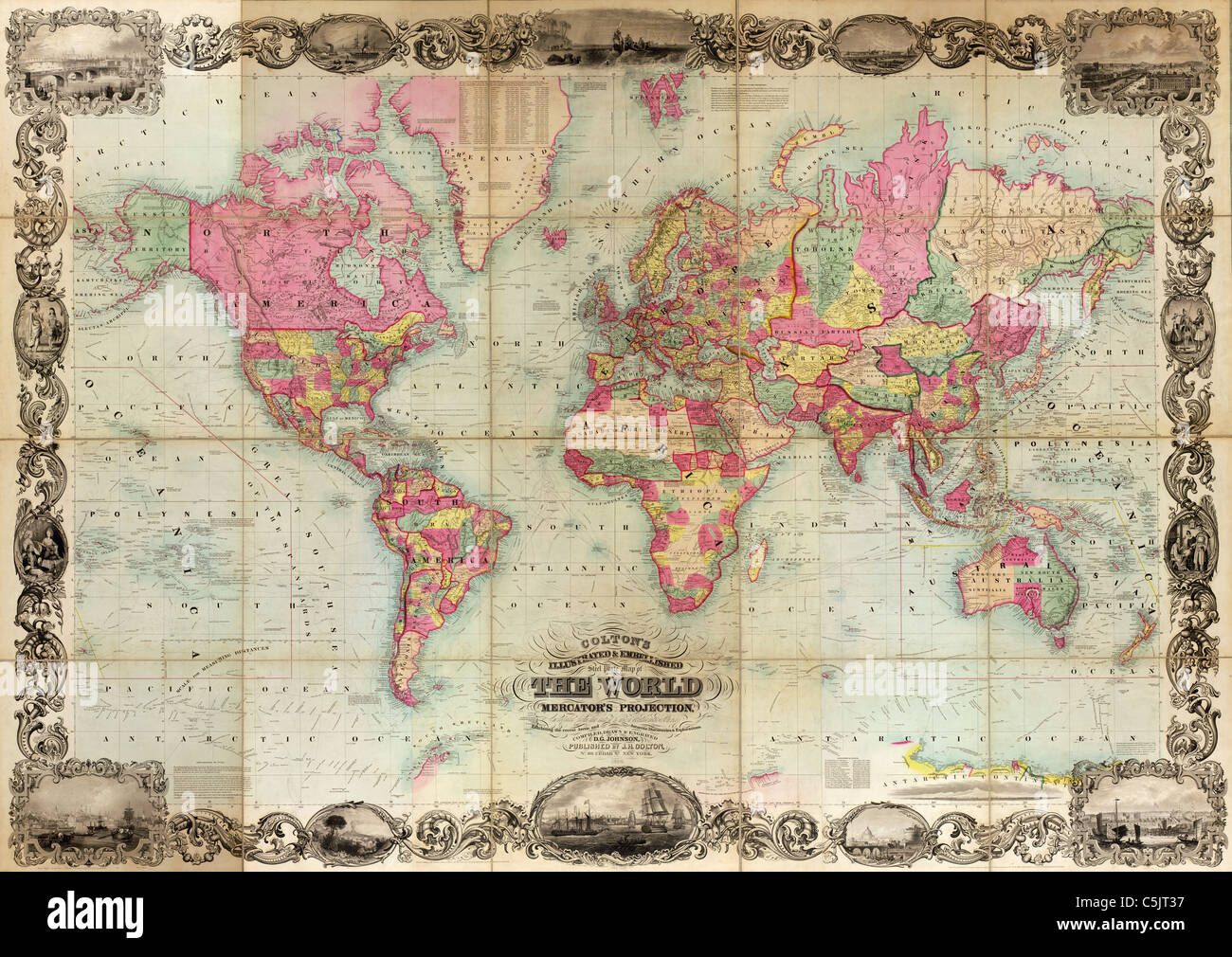 Colton's illustrated & embellished steel plate map of the world on Mercator's projection - Antique World Map by Stock Photo