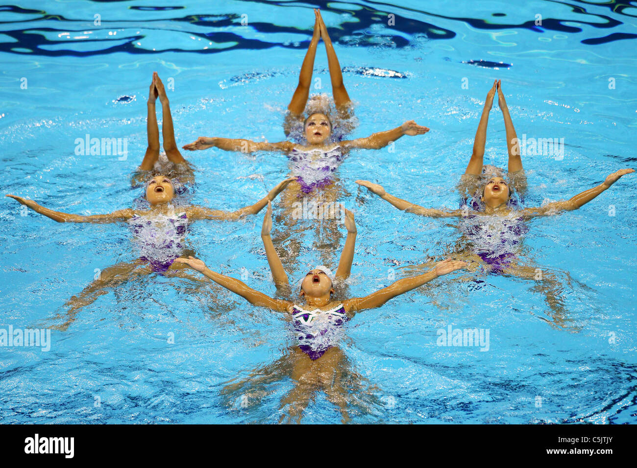Japan Synchronized Swimming National Team Group for 14th FINA World Championships Shanghai 2011. - Stock Image
