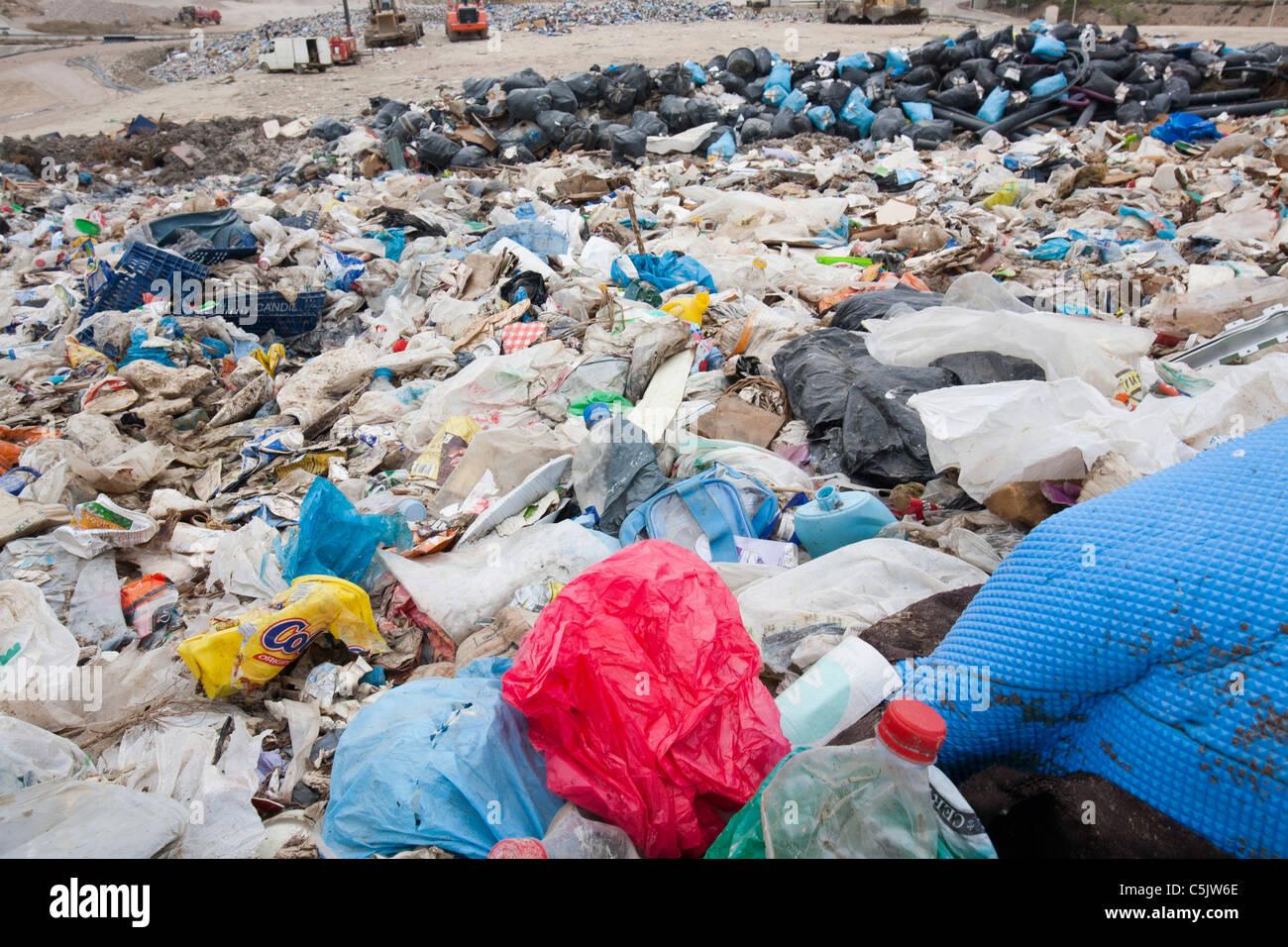 Rubbish on a landfill site in Alicante, Costa Blanca, Murcia, Spain - Stock Image