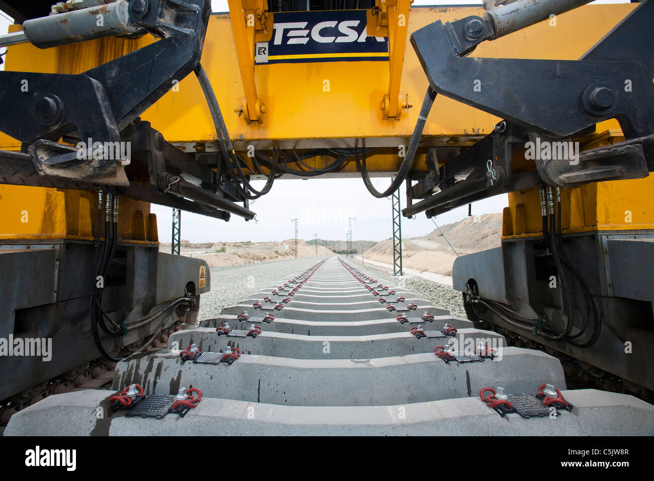 A new electrified railway line being built into Alicante, Mursia, Spain. - Stock Image