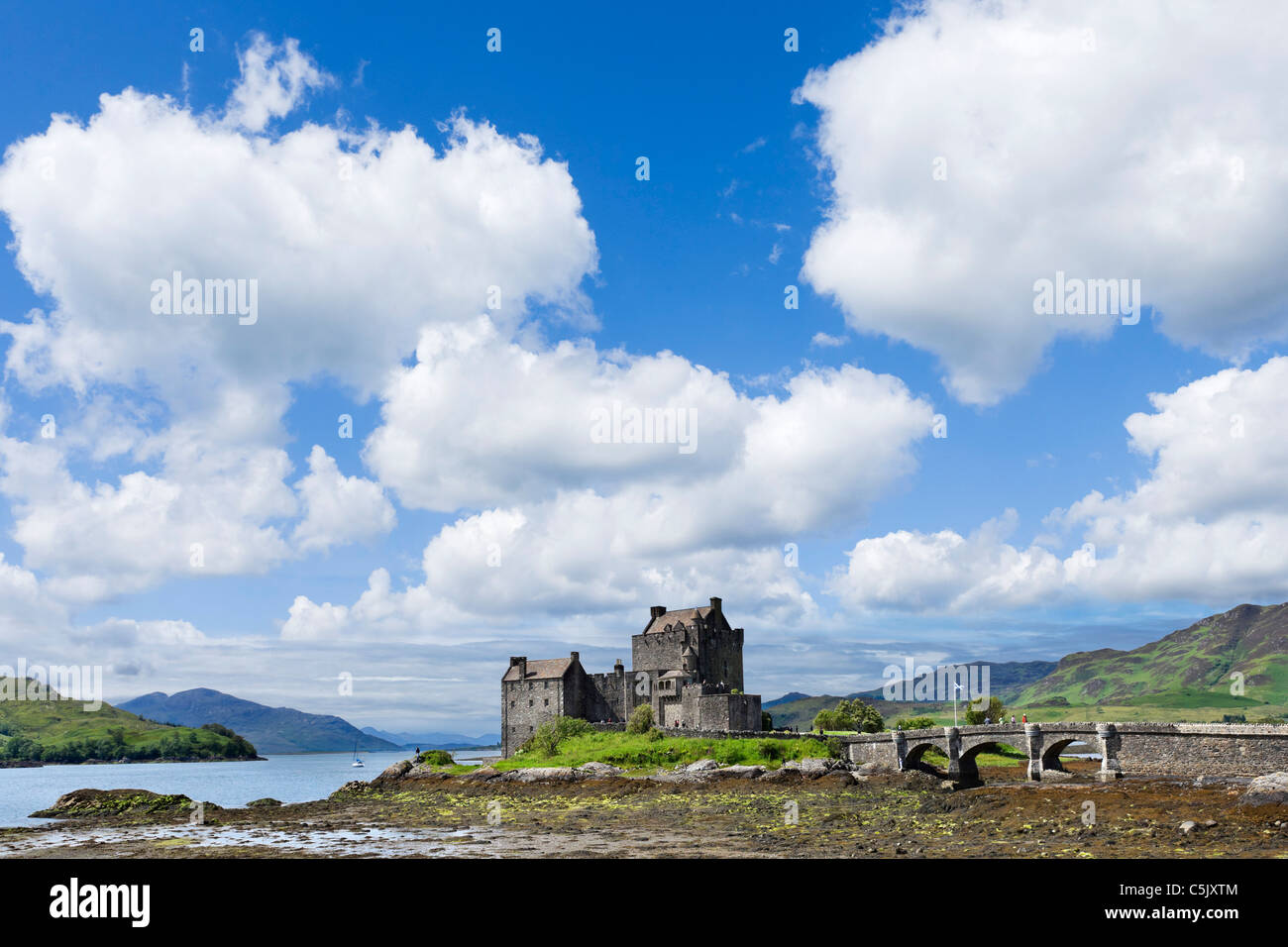 View towards Eilean Donan Castle, Loch Duich, Highland, Scotland, UK. Scottish landscape / landscapes. - Stock Image