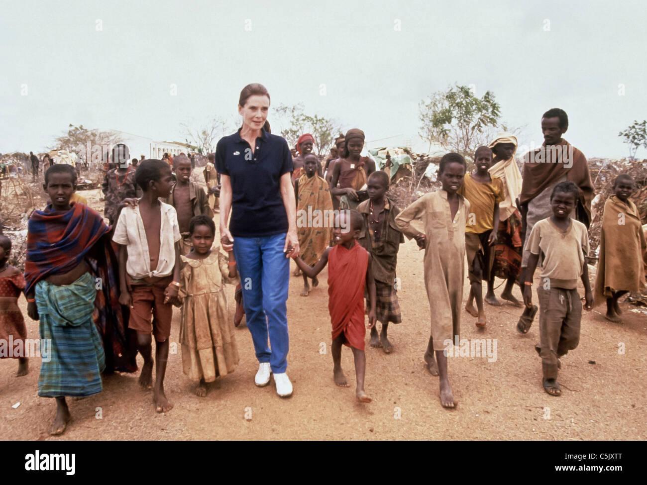 audrey hepburn,ambassadress of Unicef in africa - Stock Image