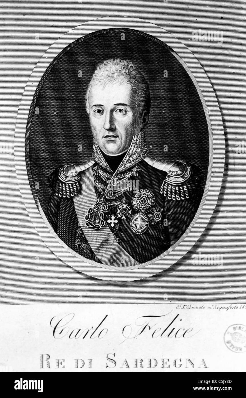Carlo Felice di Savoia, King of Sardinia, 1823' Stock Photo