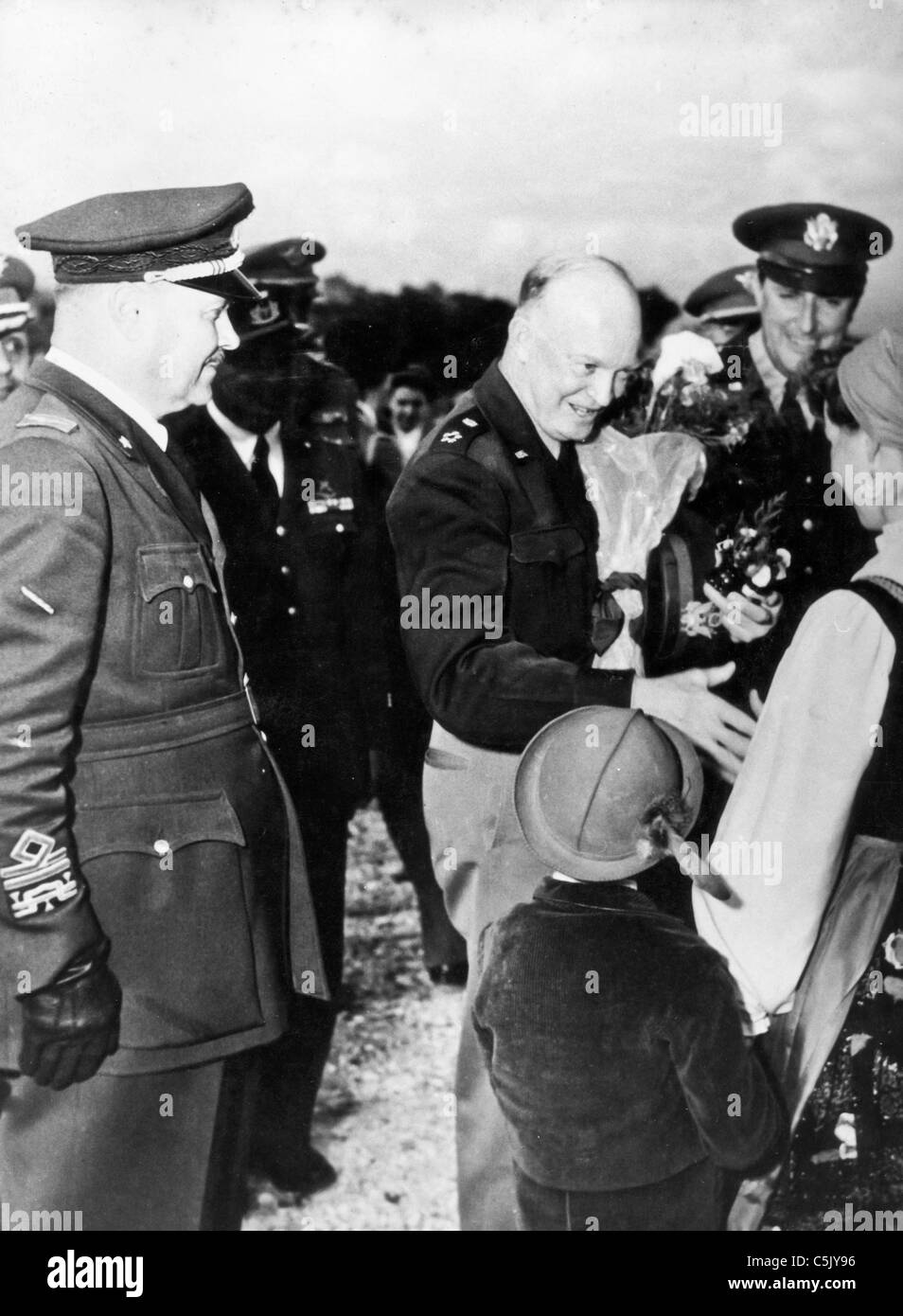 Dwight David Eisenhower visiting Risano, 1952Stock Photo