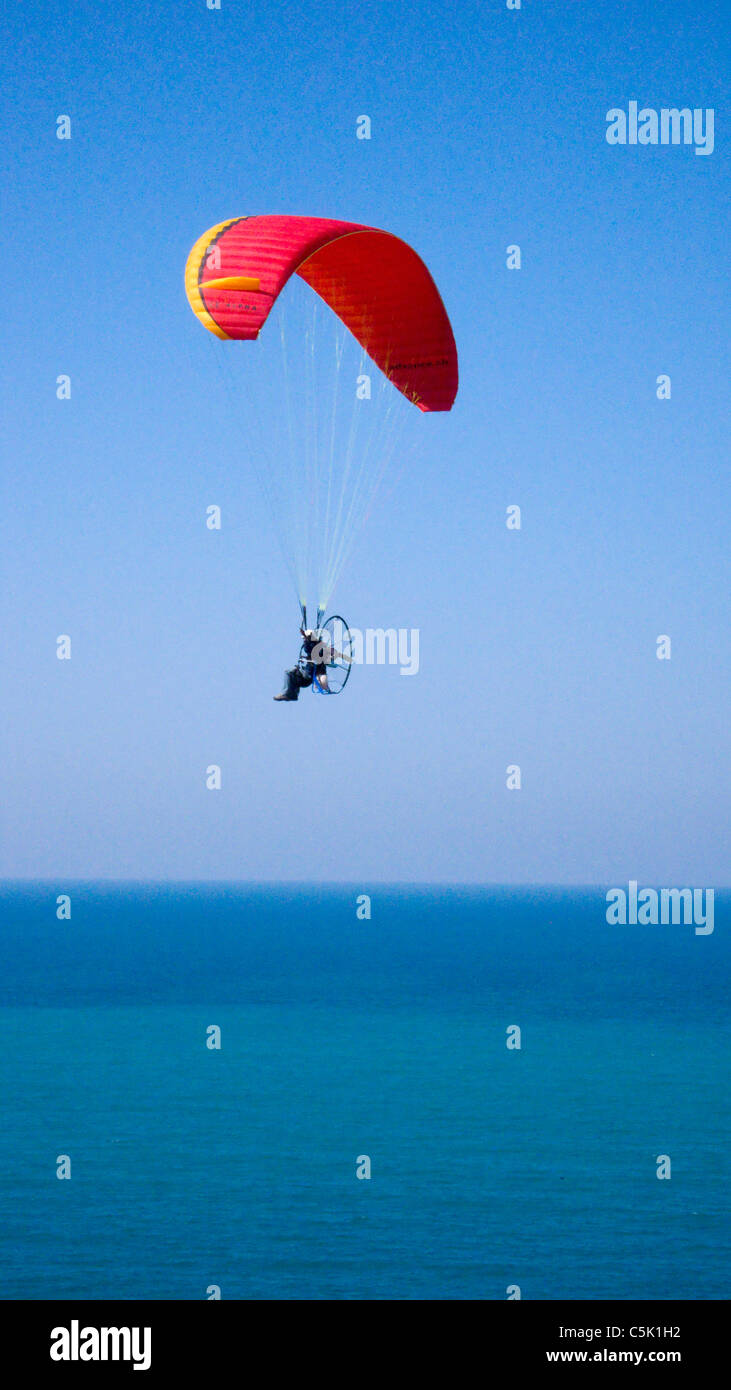 Powered paraglider flying above the Black Sea in Istanbul, aerial, view, Turkey (MR) Stock Photo