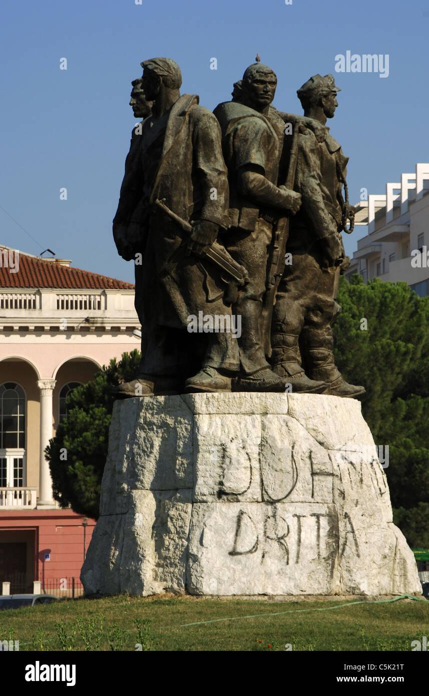 Albania. Shkodra. Five National Heroes Monument by Shaban Haderi.Stock Photo