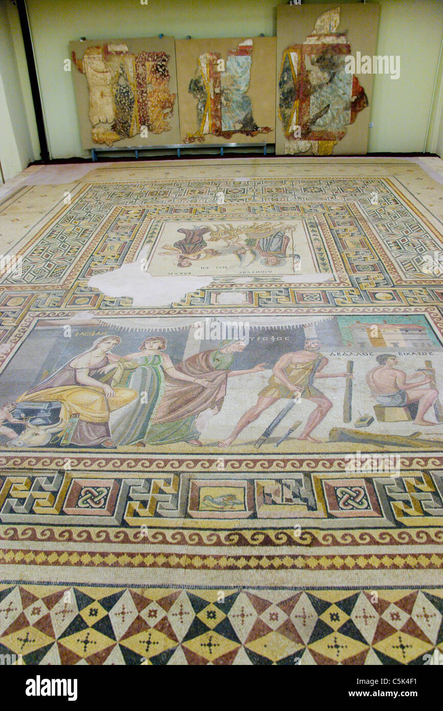 Mosaic of Daedalus and Icarus with Minos' wife Pasiphae, Gaziantep Archaeology Museum, Gaziantep (Antep), Turkey - Stock Image