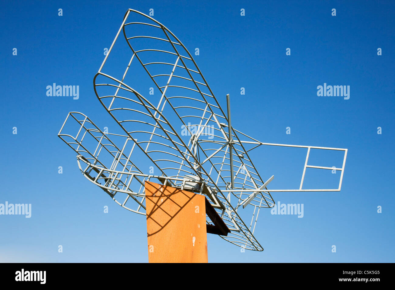 A  bi-plane sculpture at Eastchurch village, Isle of Sheppey, Kent, England. - Stock Image