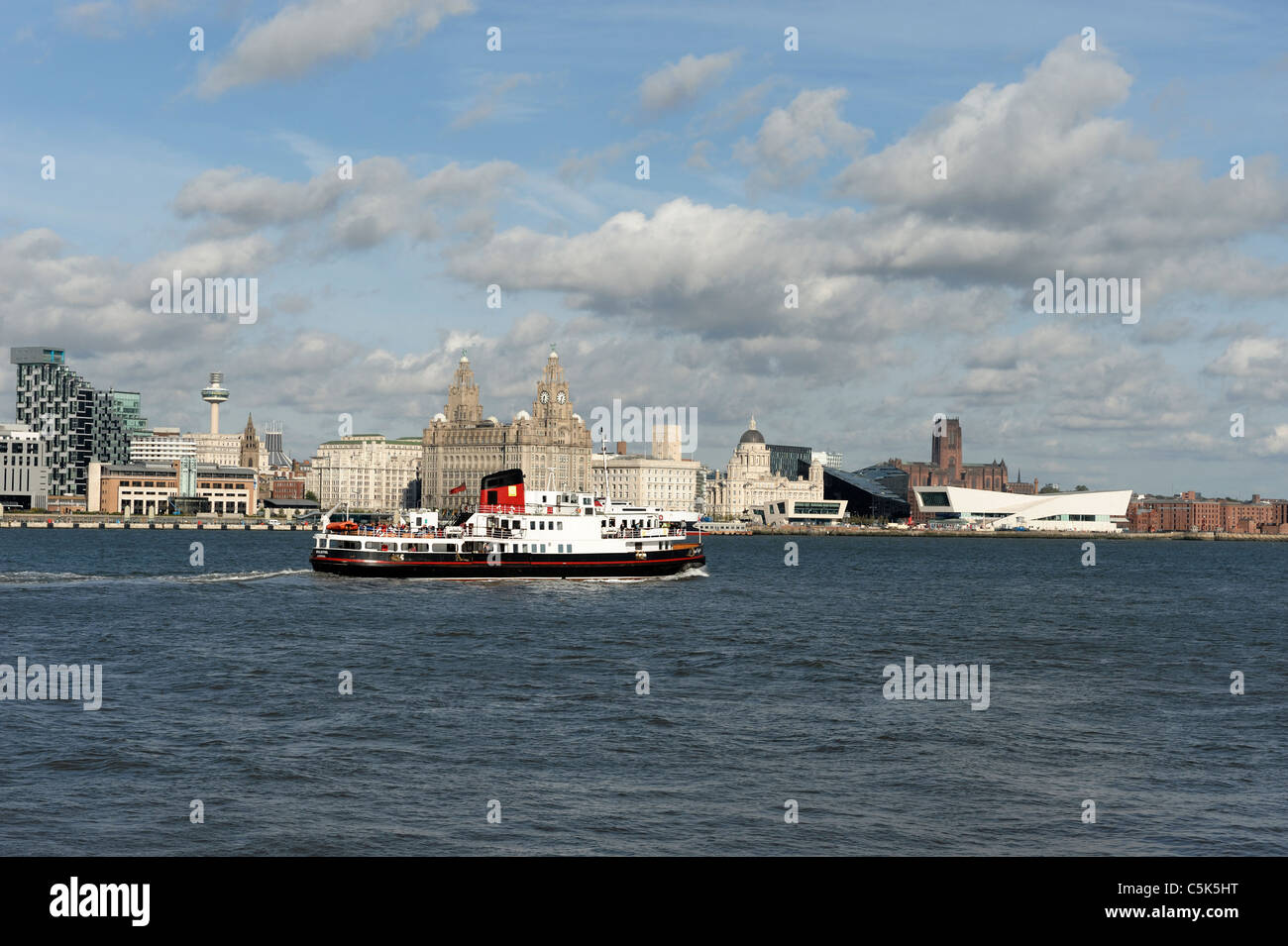 River Mersey passenger ferry approaching Liverpool - Stock Image
