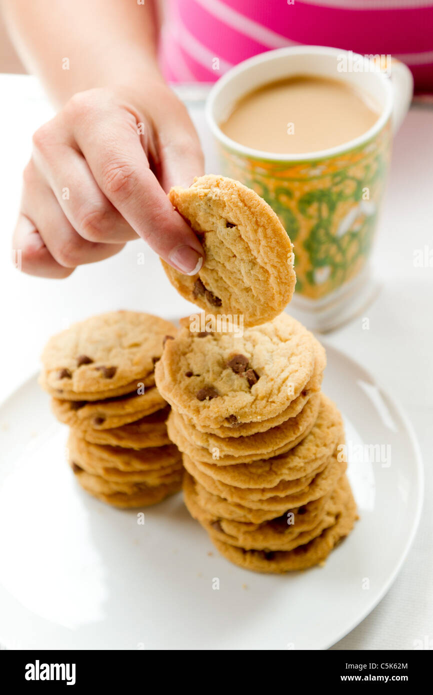 Plate of biscuits - Stock Image