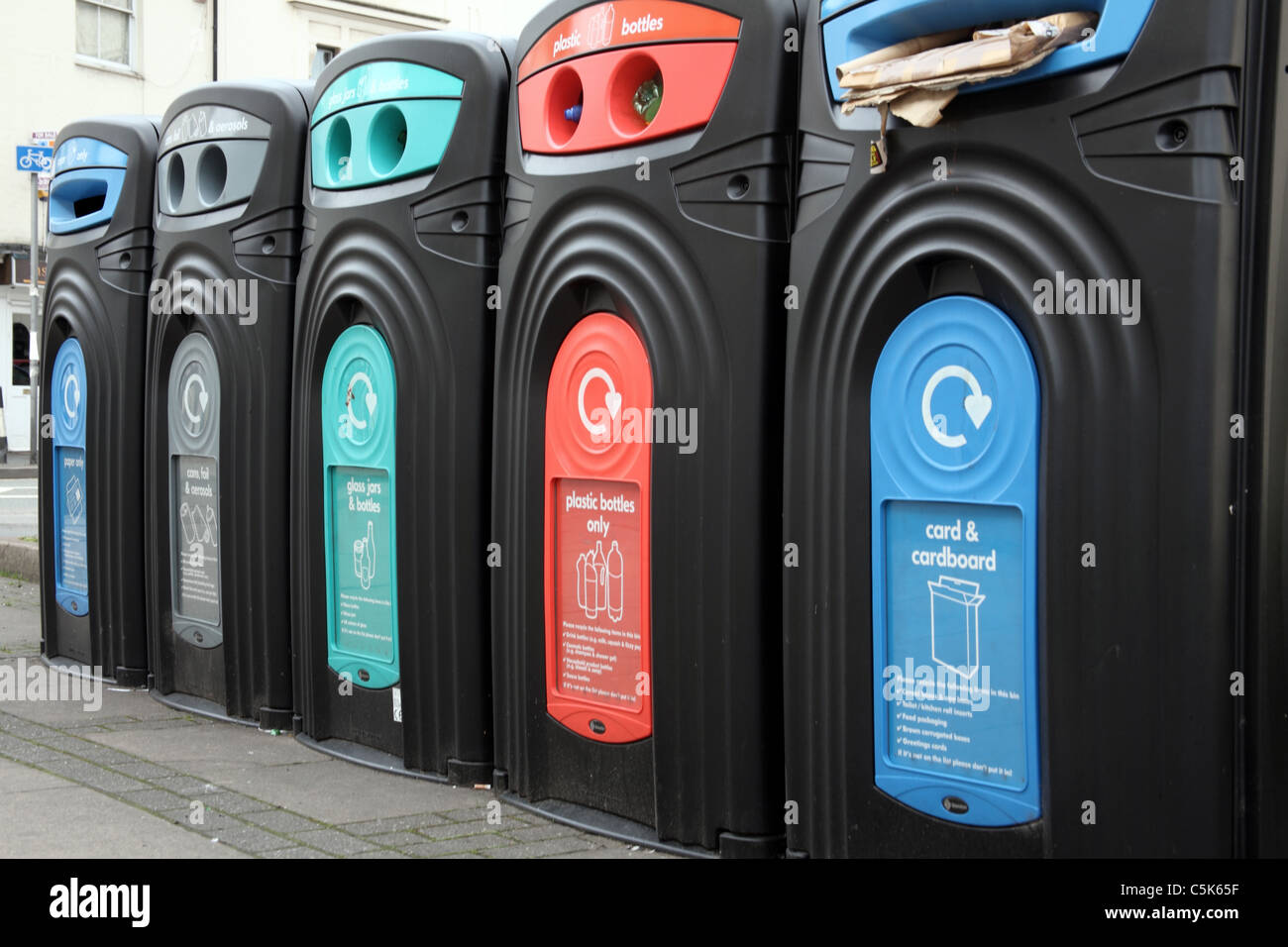 Colour Coded Recycling Bins on Street Stock Photo