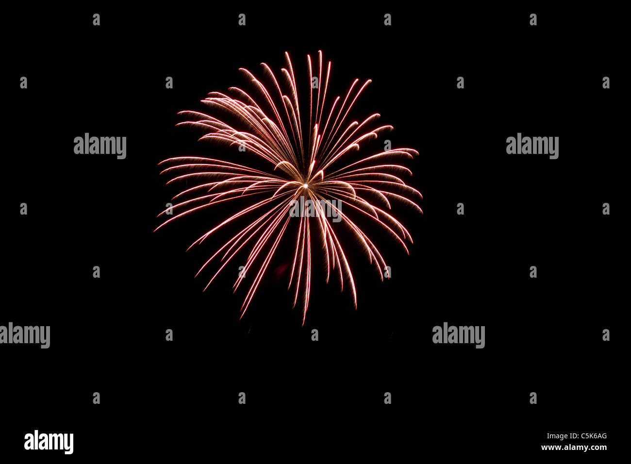Fireworks burst at Canada Day 2011 in Morden, Manitoba, Canada - Stock Image