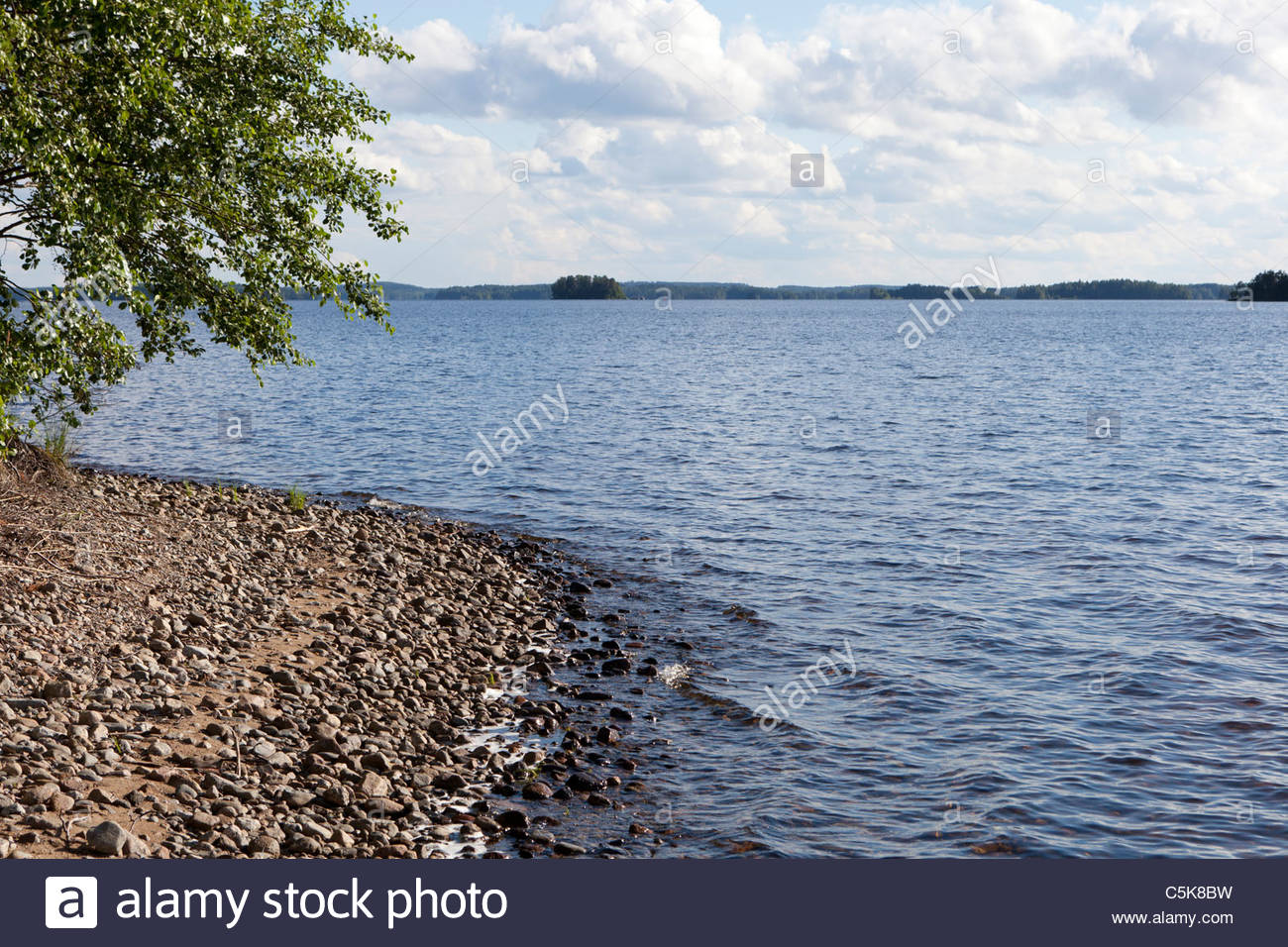 Lake view in Finland. Stock Photo