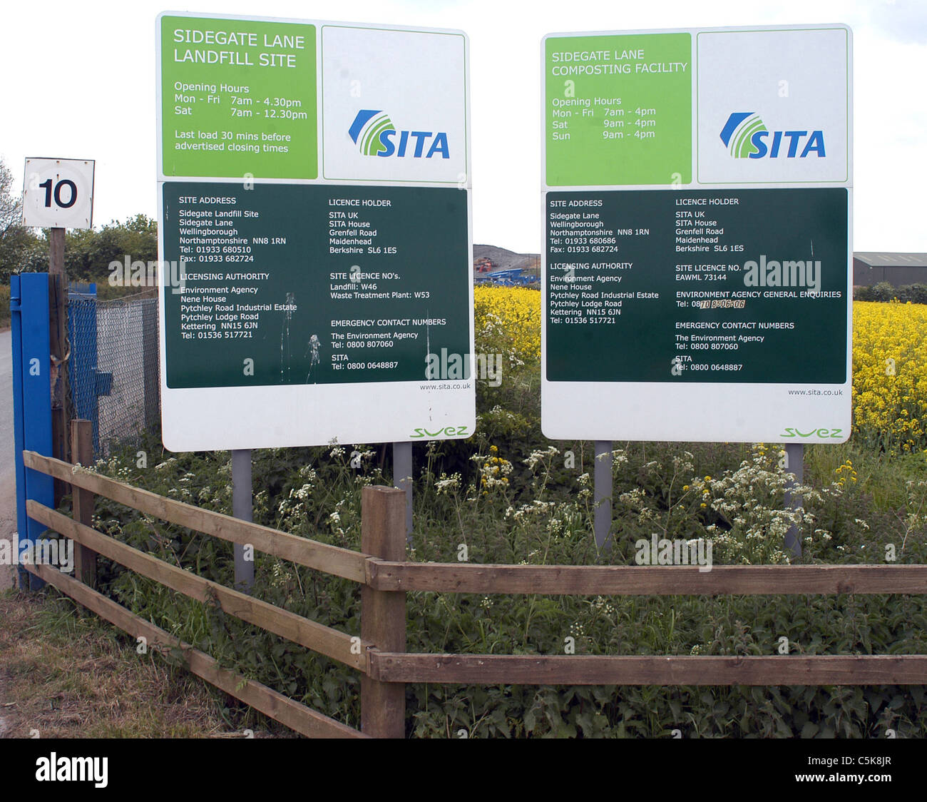 SITA UK landfill site, Sidegate Lane, Wellingborough, Northamptonshire - Stock Image