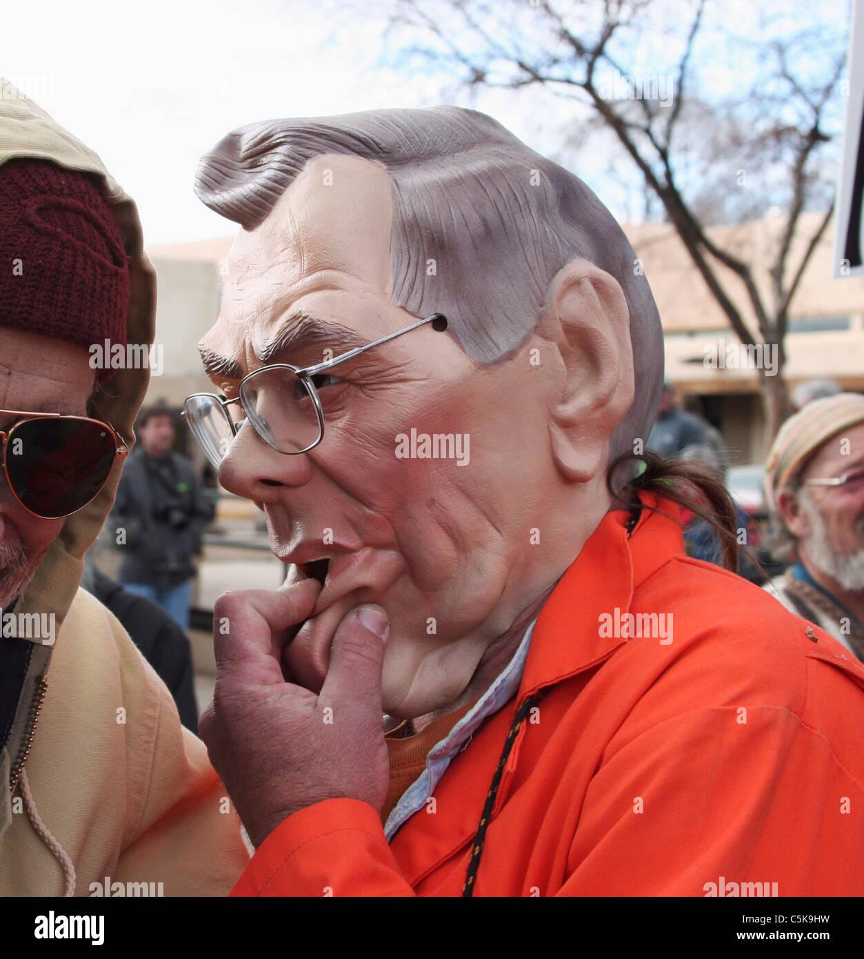 Donald Rumsfeld imitator at peace rally - Stock Image