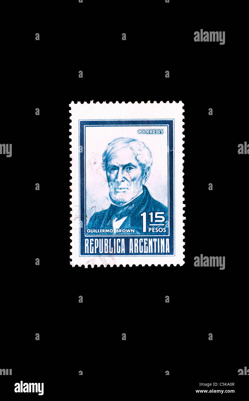 Admiral Guillermo Brown in an Argentinian commemorative stamp - Stock Image
