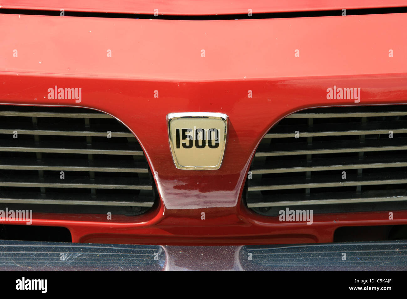 A close-up of the front of a Triumph 1500 car. - Stock Image