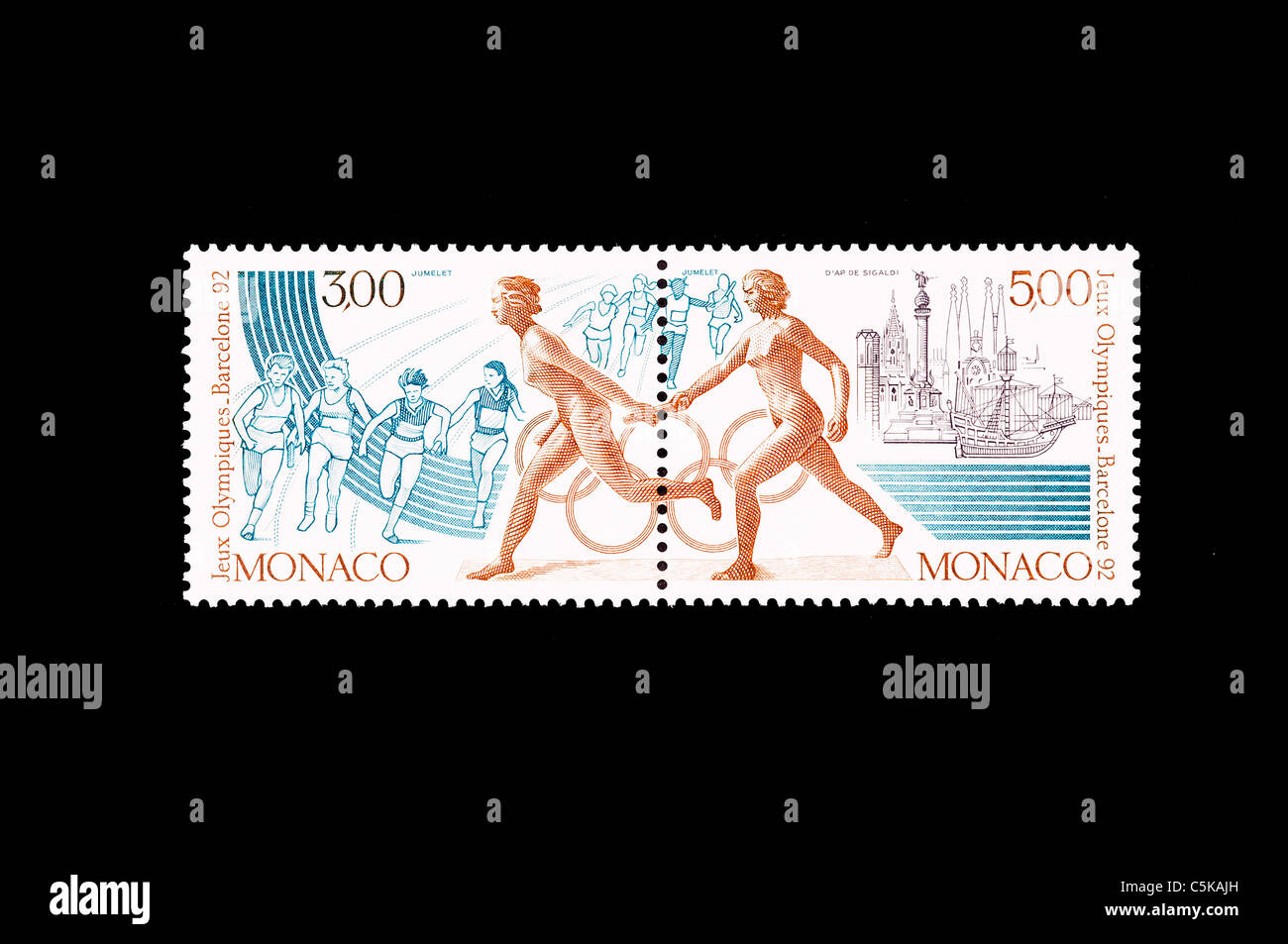 the relay race discipline in a commemorative stamp of olimpic games of Barcelona 1992 - Stock Image