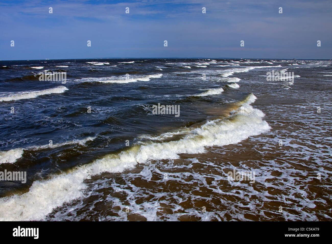 Waves at sea during storm, Germany - Stock Image