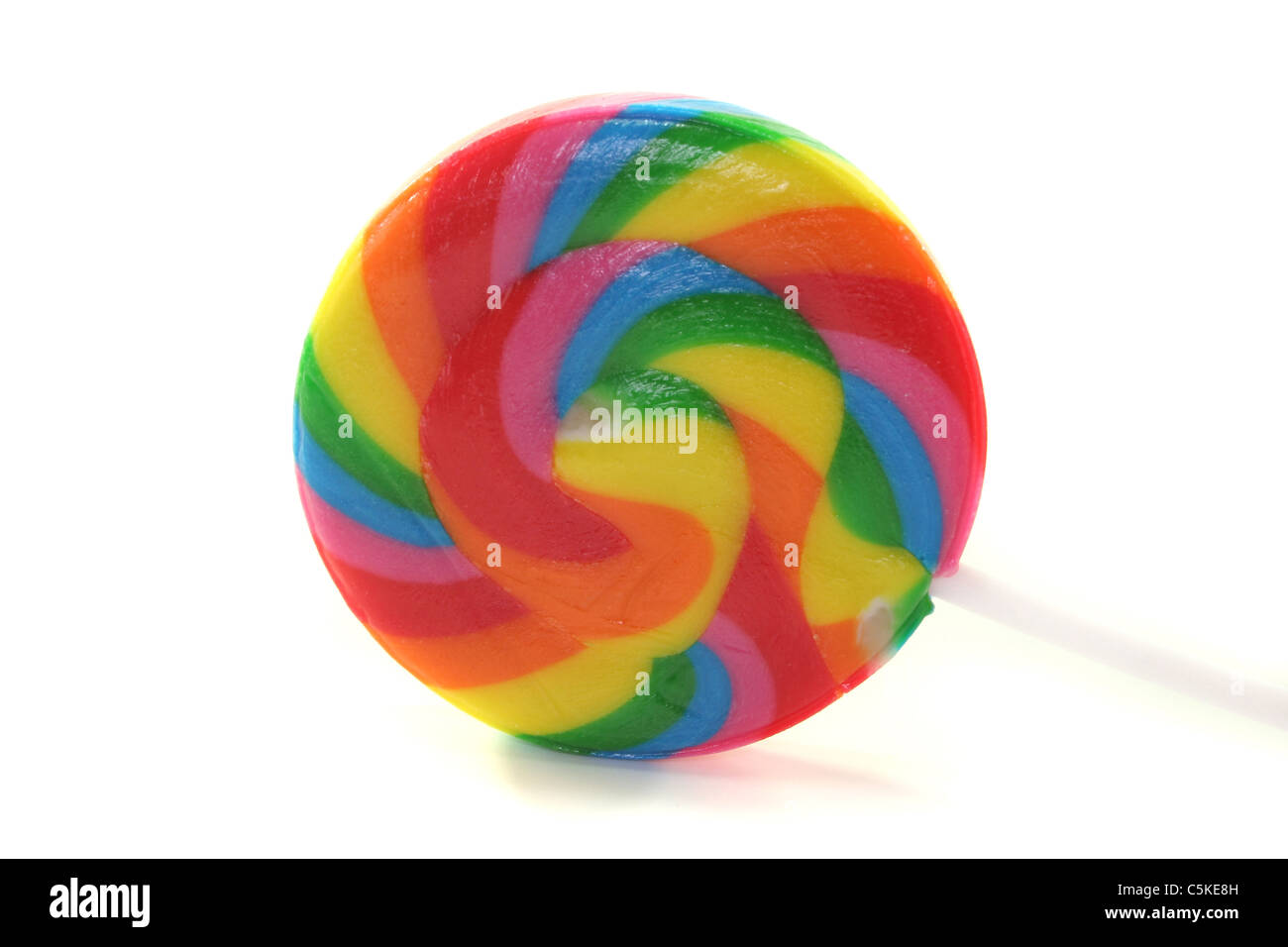 a colorful lollipops on a white background - Stock Image