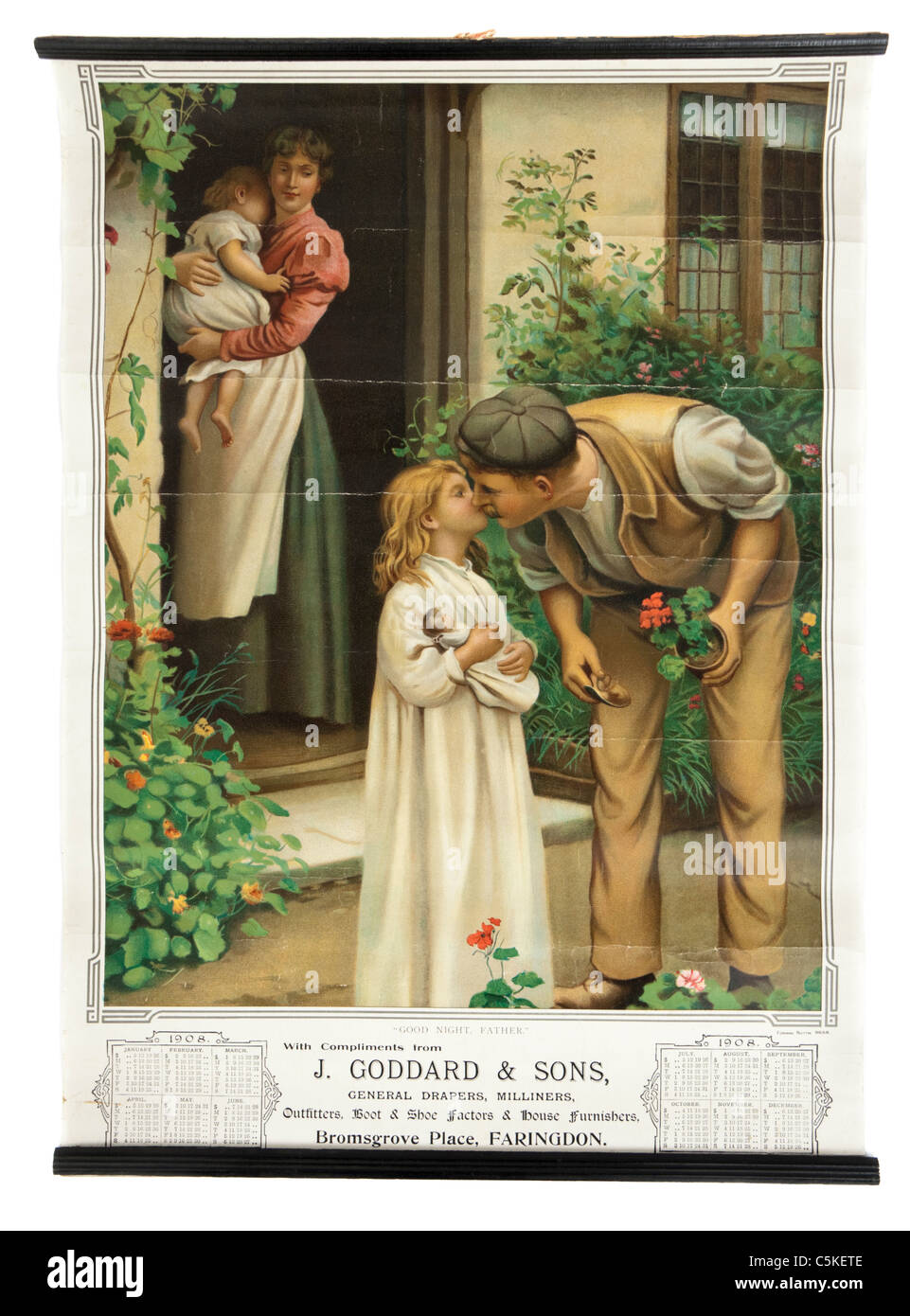 1908 Edwardian calendar featuring illustration of small child kissing her father good night - Stock Image