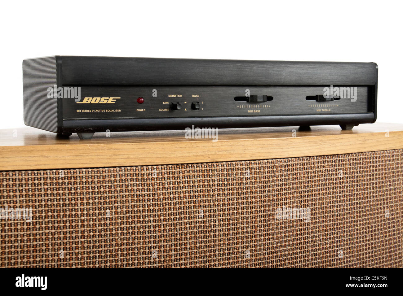 Bose 901 Series VI direct / reflecting speaker from 1987 with matching Active Equalizer on top - Stock Image