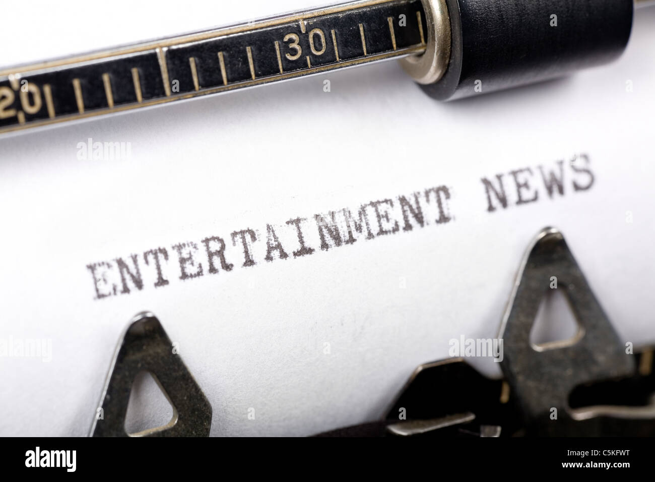 Typewriter close up shot, concept of Entertainment News - Stock Image