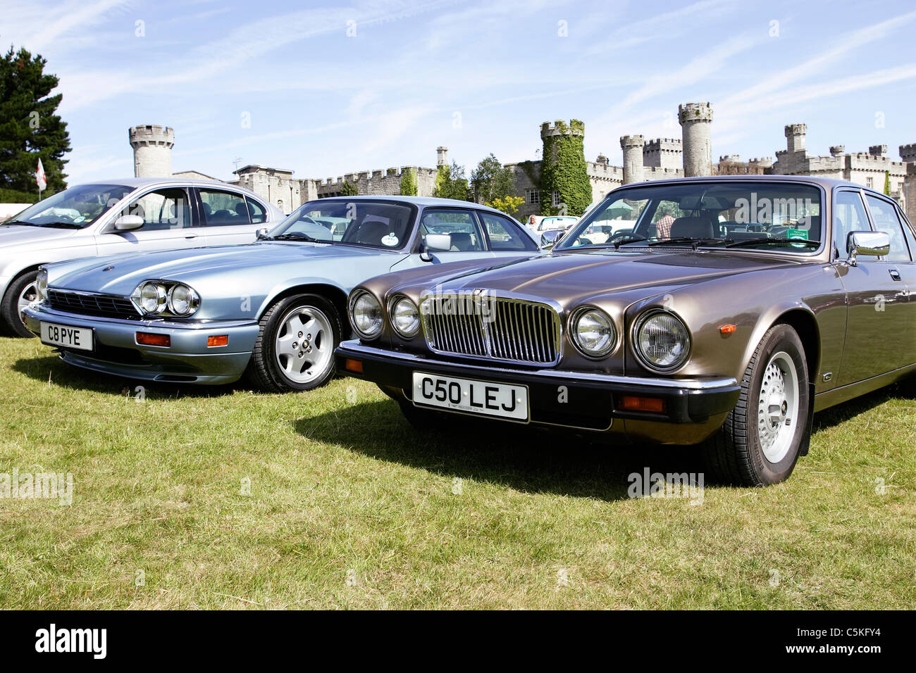 Classic Jaguar sports and saloon cars at a Classic Car Show in North Wales. Stock Photo
