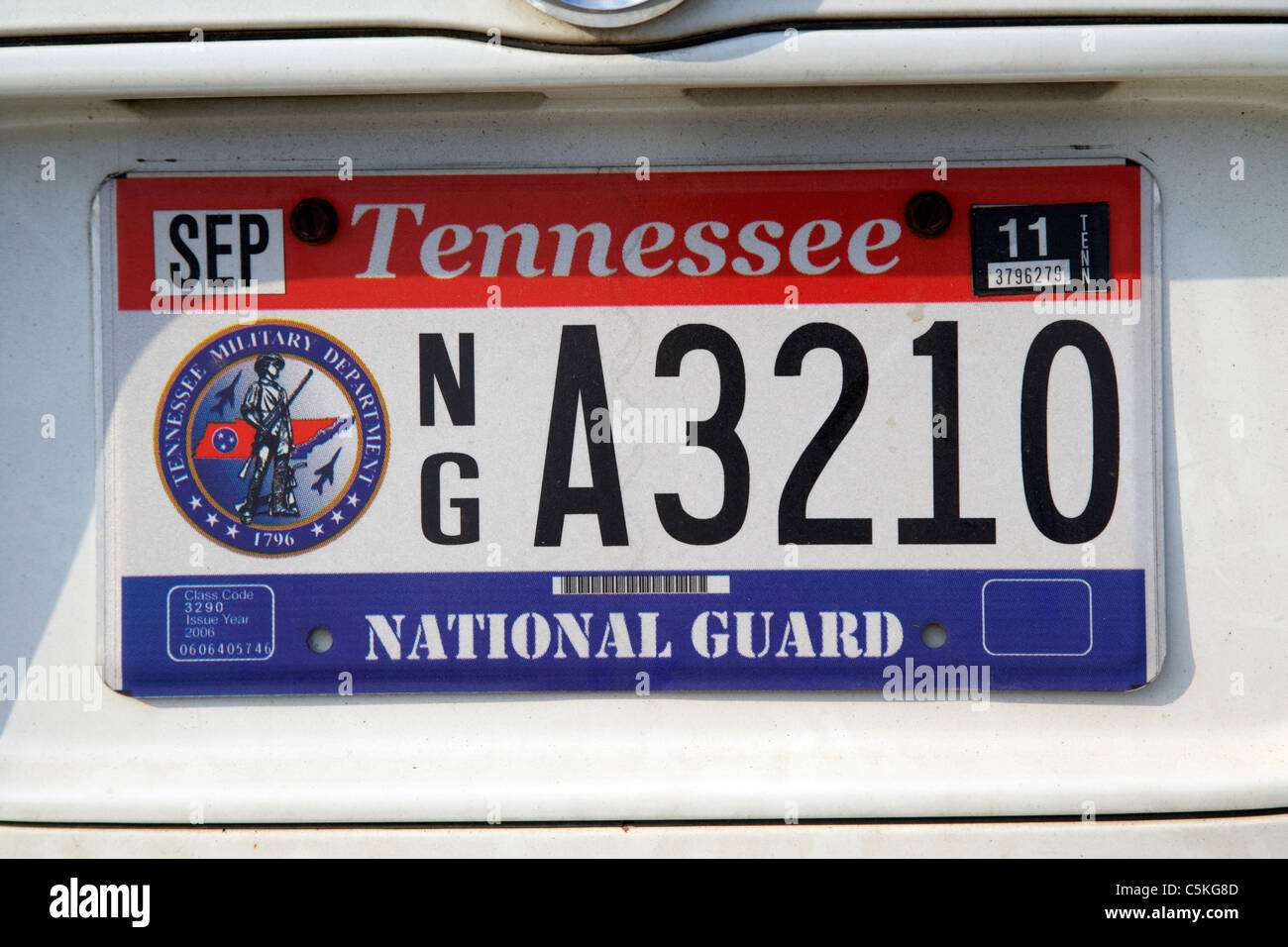 tennessee national guard vehicle license plate state usa Stock Photo ...