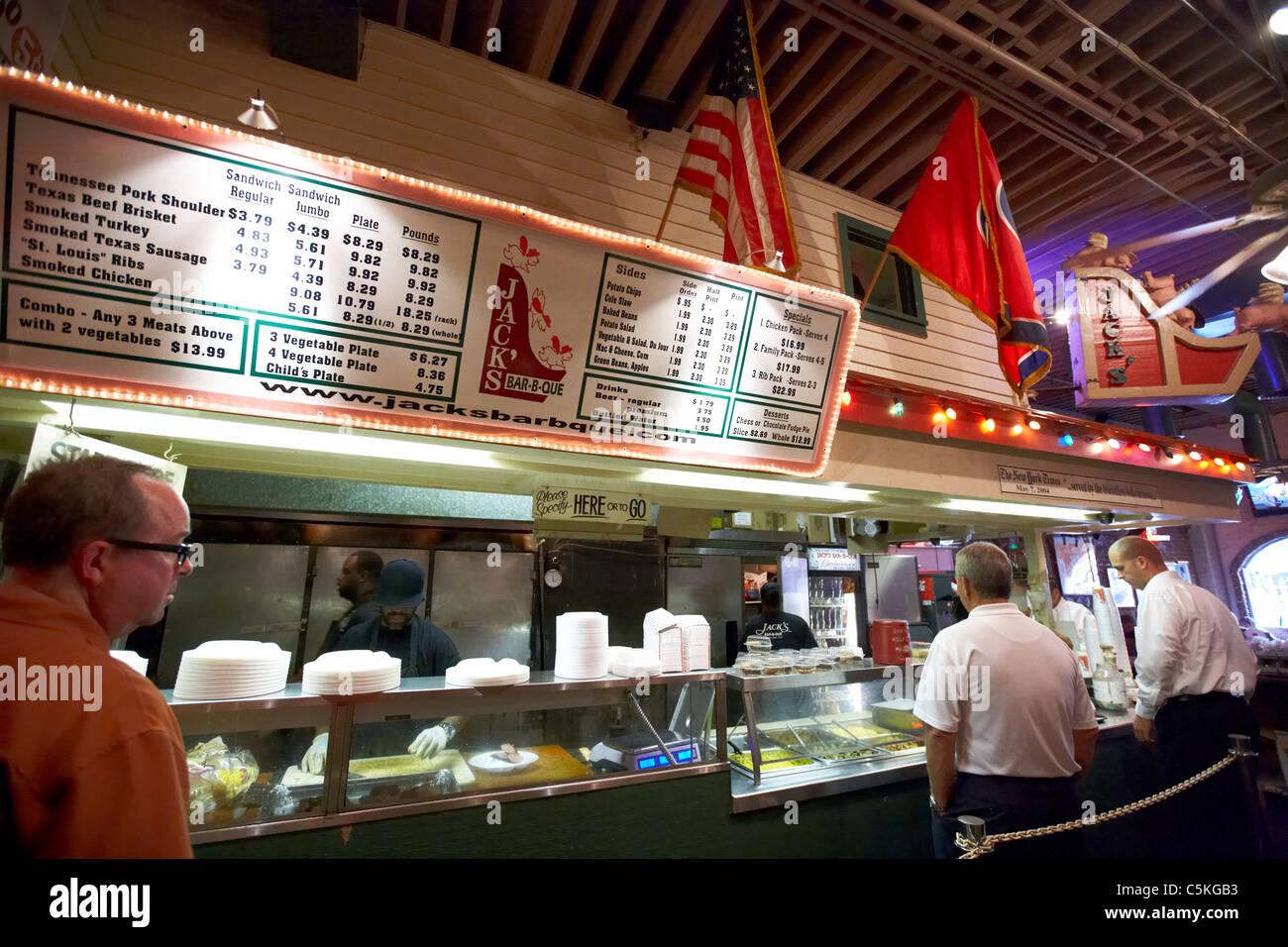 customers queue up at jacks bar-b-que nashville tennessee usa - Stock Image