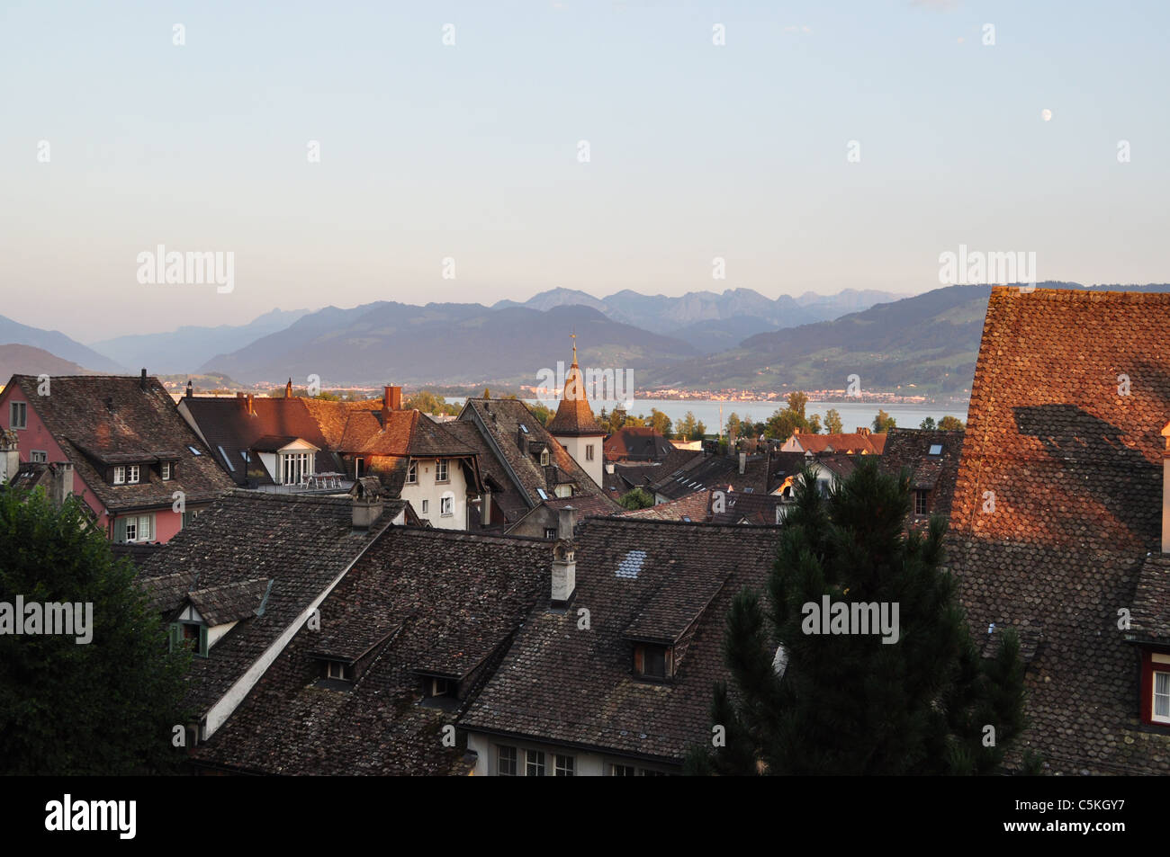 Sunset over Rapperswil, Switzerland - Stock Image