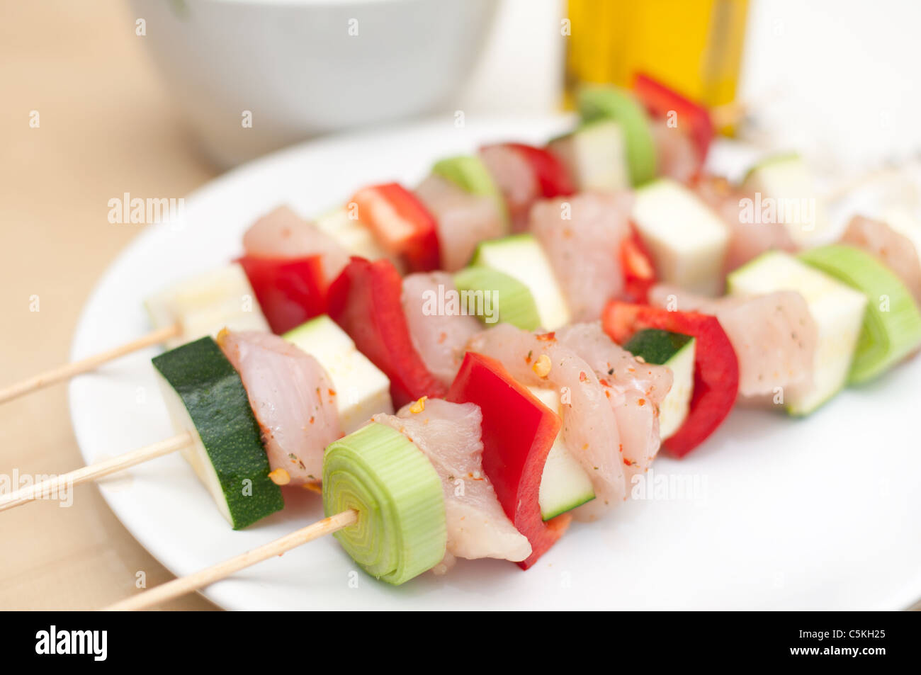 Preparation of shish kebab Stock Photo