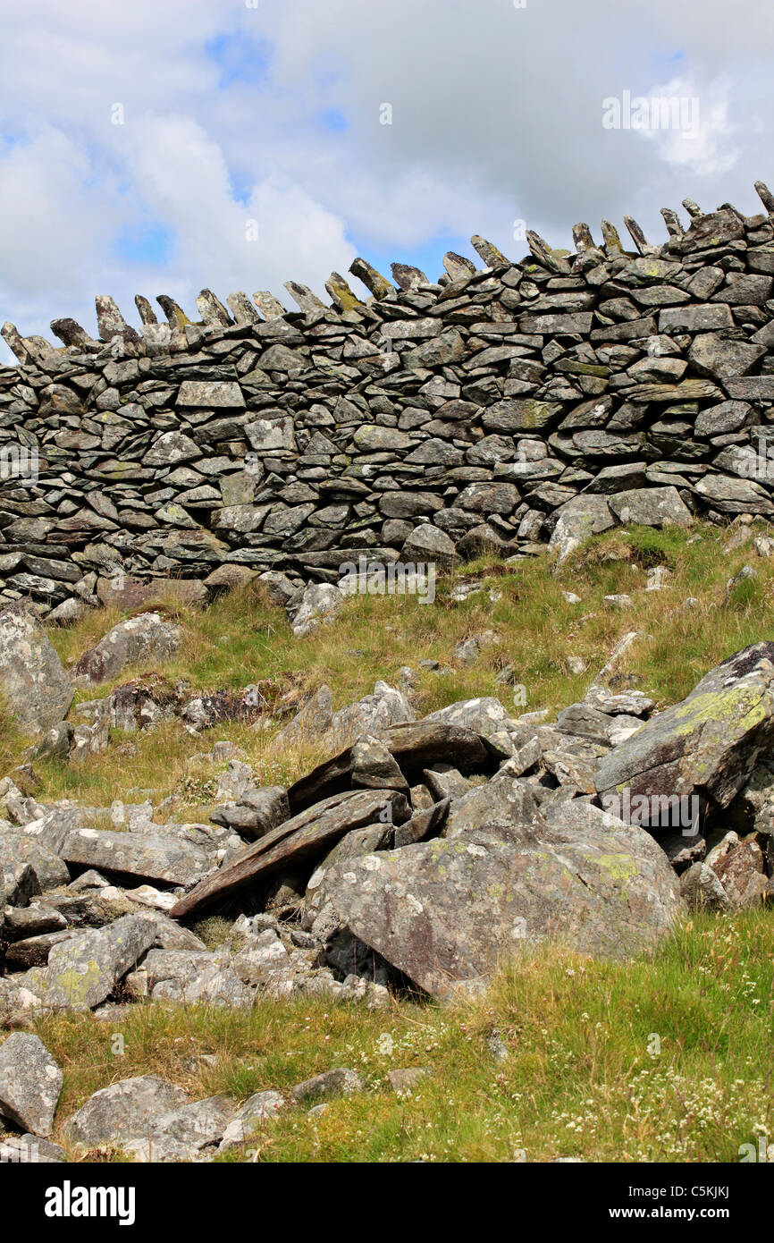 Dry stone wall in Snowdonia National Park Gwynedd Wales UK - Stock Image