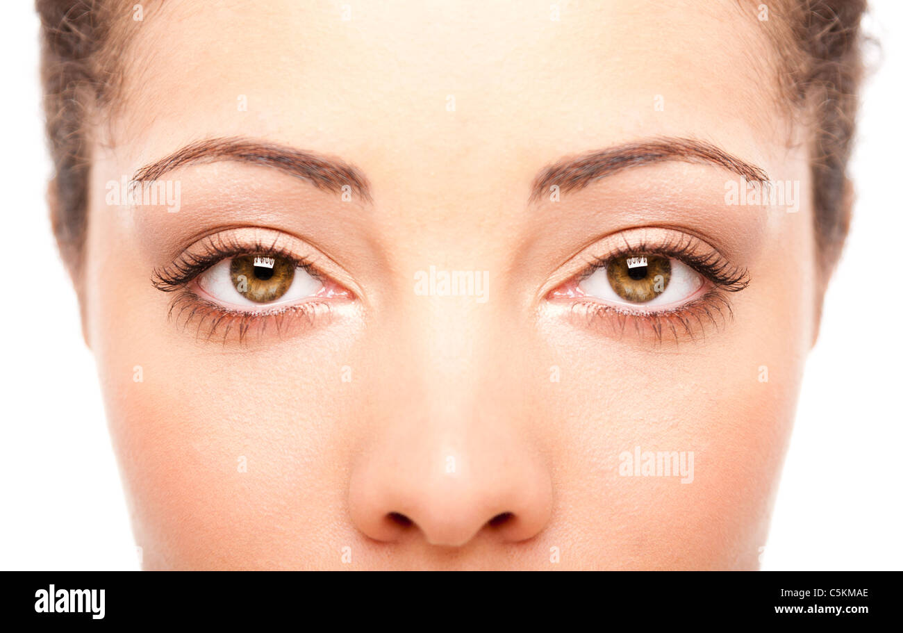 Beautiful female eyes as windows to the soul on face with fair skin, health concept, isolated. - Stock Image