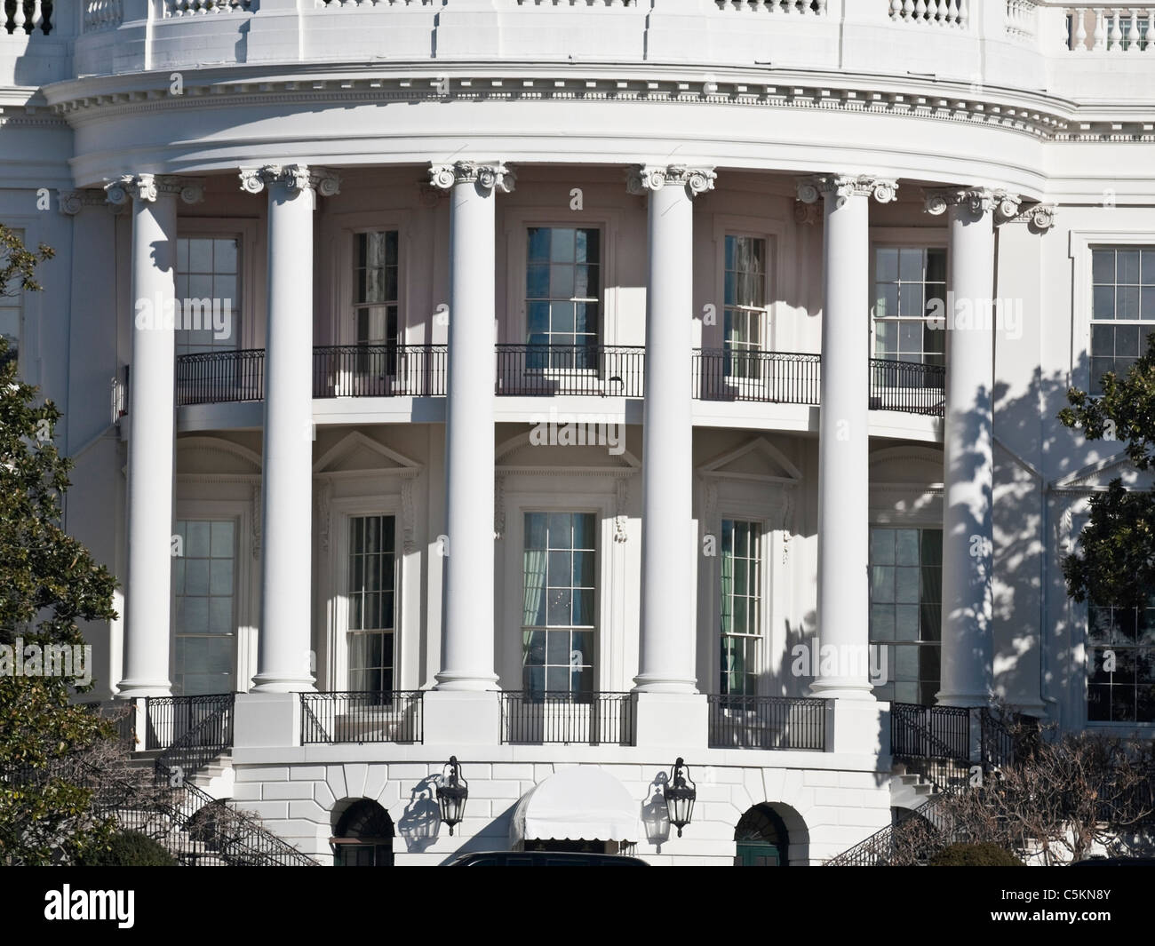 The south portico of the White House in Washington DC. - Stock Image