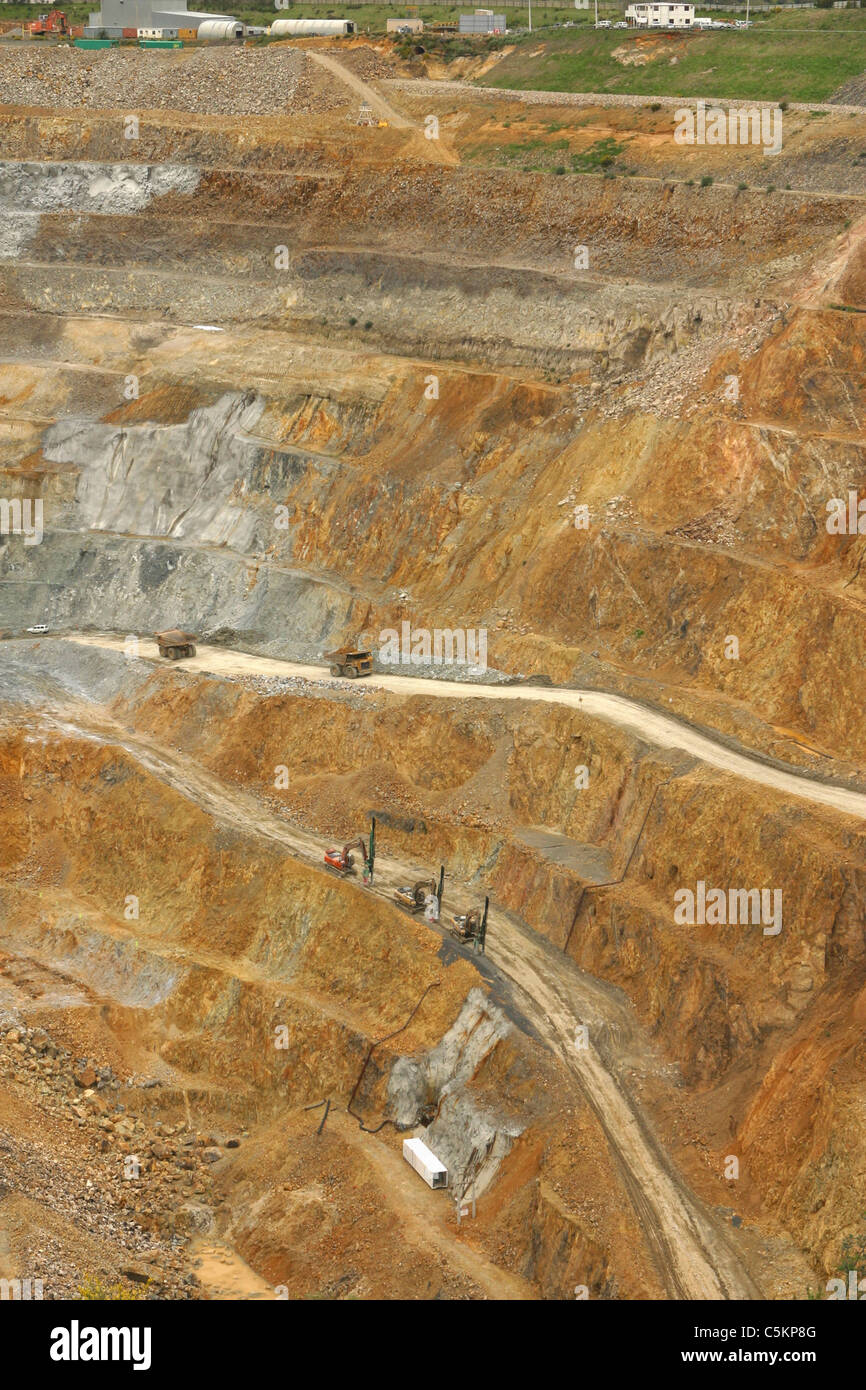 Martha opencast gold and silver mine, Waihi, New Zealand. Measures 860 x 200 metres, and 250 metres deep. Produces Stock Photo