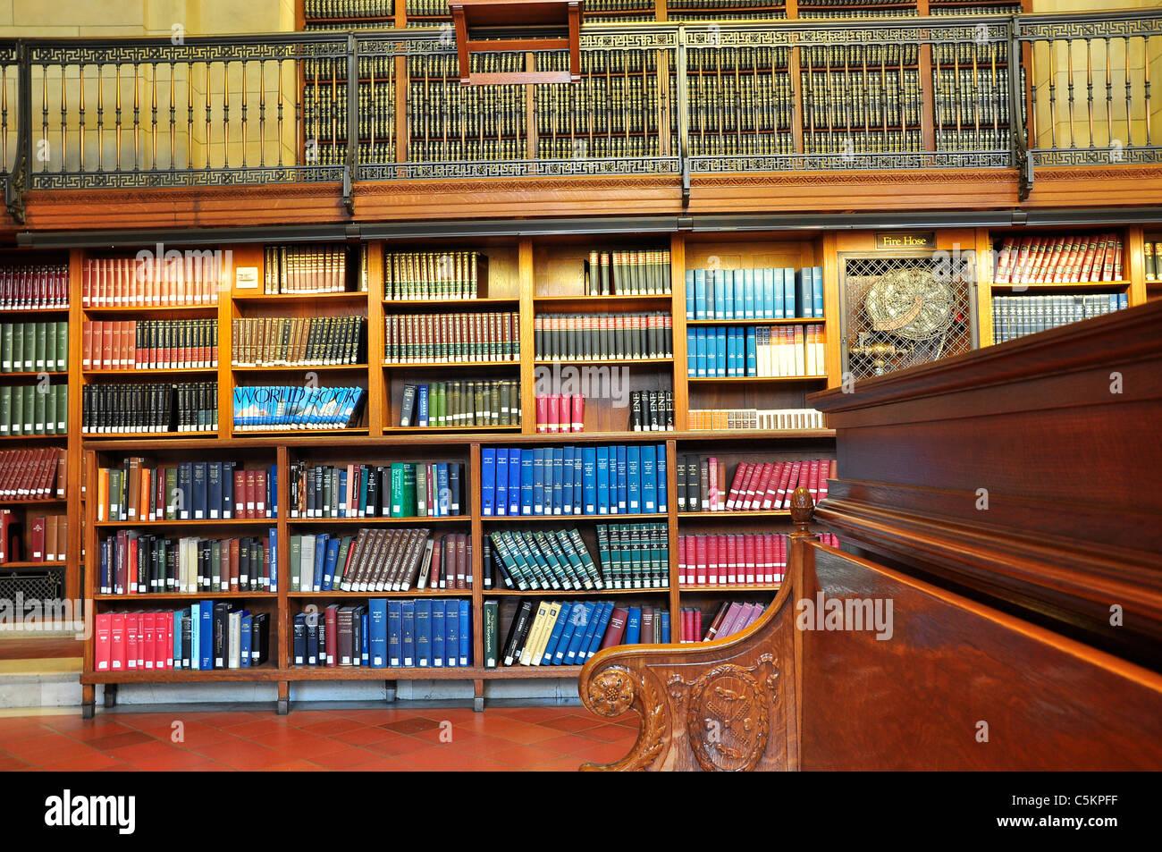 Bookshelves of New York City Public Library. - Stock Image