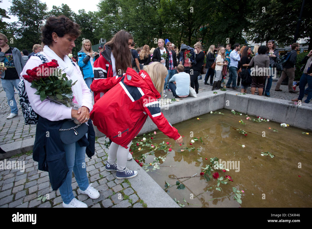 Thousands of Norwegian's laid a rose flower in Oslo as part of a vigil for victims of attacks.Photo:Jeff Gilbert - Stock Image