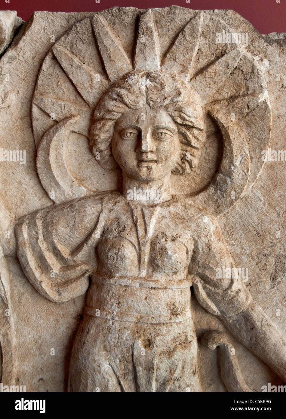 Perge Roman detail of facade Nymphaeum 2nd century AD  Eros Three Graces Artemis Turkey - Stock Image
